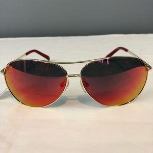 NWOT Cole Haan Aviator Sunglasses Red Flash